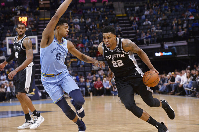 San Antonio Spurs forward Rudy Gay (22) handles the ball against Memphis Grizzlies forward Bruno Caboclo (5) during the second half of an NBA basketball game Tuesday, Feb. 12, 2019, in Memphis, Tenn. (AP Photo/Brandon Dill)