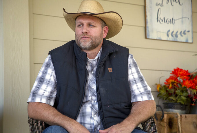 FILE - In this Oct. 24, 2018, photo, Ammon Bundy poses for a photo in Emmett, Idaho. On Saturday, June 19, 2021, anti-government activist Bundy came out with his first video announcing his campaign to become governor of Idaho. (Kelsey Grey/Idaho Statesman via AP)