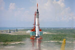 In this May 5, 1961 photo made available by NASA, astronaut Alan Shepard is launched into space atop a Mercury-Redstone rocket from Cape Canaveral, Fla. Freedom 7 was the first American manned suborbital space flight, making Shepard the first American in space. (NASA via AP)