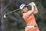 Nasa Hataoka tees off on the second hole during the first round of the LPGA Marathon Classic golf tournament, Thursday, July 8 2021, at Highland Meadows in Sylvania, Ohio. (Jeremy Wadsworth/The Blade via AP)