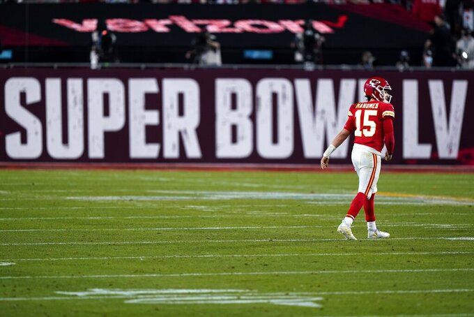 Kansas City Chiefs quarterback Patrick Mahomes (15) walks on the turf during the second half of the NFL Super Bowl 55 football game against the Tampa Bay Buccaneers, Sunday, Feb. 7, 2021, in Tampa, Fla. (AP Photo/Mark Humphrey)