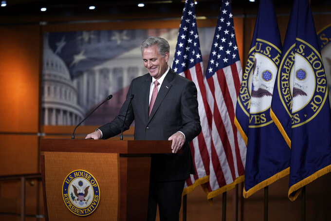 House Minority Leader Kevin McCarthy, R-Calif., talks about House Republicans and the election, during a news conference on Capitol Hill in Washington, Thursday, Nov. 12, 2020. (AP Photo/J. Scott Applewhite)