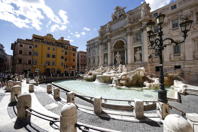 A view of the Trevi fountain in Rome, Saturday, June 20, 2020. (Cecilia Fabiano/LaPresse via AP)