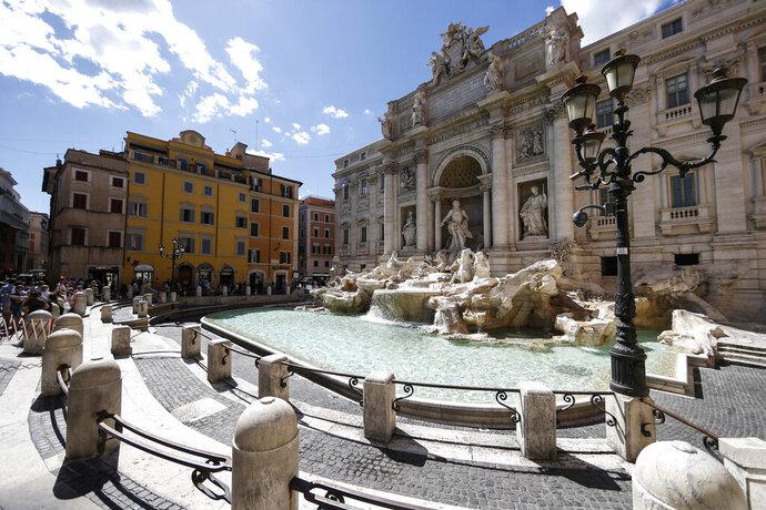 A view of the Trevi fountain in Rome, Saturday, June 20, 2020. (Cecilia Fabiano/LaPresse via AP)