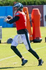 Philadelphia Eagles quarterback Nate Sudfeld runs a drill during an NFL football practice, Thursday, Aug. 20, 2020, in Philadelphia. (AP Photo/Chris Szagola, Pool)