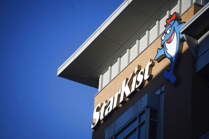 FILE - In this Oct. 18, 2018 file photo the StarKist offices are seen on the North Shore of Pittsburgh. A federal judge in San Francisco on Wednesday, Sept. 11, 2019, ordered StarKist Co. to pay a $100 million fine in a canned tuna price-fixing conspiracy involving the industry's top three companies. (Stephanie Strasburg/Pittsburgh Post-Gazette via AP, File)