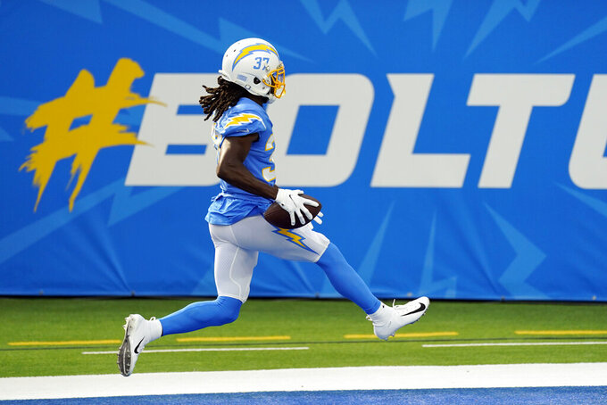 Los Angeles Chargers cornerback Tevaughn Campbell runs into the end zone for a touchdown after intercepting the ball against the New York Jets during the first half of an NFL football game Sunday, Nov. 22, 2020, in Inglewood, Calif. (AP Photo/Jae C. Hong)