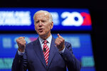 FILE - In this July 5, 2019, file photo, Democratic presidential candidate and former vice president Joe Biden speaks during the National Education Association Strong Public Schools Presidential Forum in Houston. Biden and South Bend Mayor Pete Buttigieg represent the generational poles of the crowded Democratic presidential primary. Biden is hoping Democratic voters see his decades of experience as the remedy for Trump's presidency. Buttigieg argues that the moment calls for the energy of a new generation. (AP Photo/David J. Phillip, File)