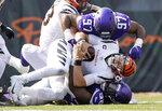 Minnesota Vikings defensive tackle Michael Pierce (58) sacks Cincinnati Bengals quarterback Joe Burrow in overtime of an NFL football game Sunday, Sept. 12, 2021, in Cincinnati. (Carlos Gonzalez/Star Tribune via AP)