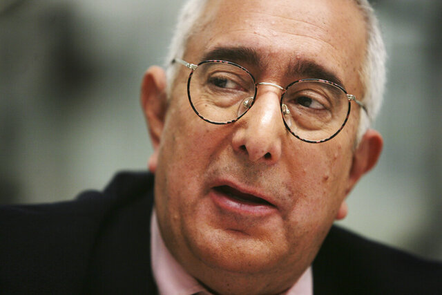 FILE - In this Nov. 12, 2007, file photo, Ben Stein is interviewed in New York. Libertarian economist and actor Stein sued Gov. Gavin Newsom, challenging whether California's unprecedented restrictions on social movement can actually be enforced.