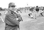 FILE - In this April 25, 1979, file photo, Ohio State football coach Earle Bruce poses during spring practice before the annual Red-White game at Ohio Stadium in Columbus, Ohio. Bruce died in Columbus, Ohio at the age of 87, according to a statement released by his daughters through Ohio State on Friday. He'd been suffering from Alzheimer's disease.  (AP Photo/KFM)