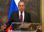 Russian Foreign Minister Sergey Lavrov gestures while speaking during a joint news conference with Venezuelan Foreign Minister Jorge Arreaza followed their talks in Moscow, Russia, Sunday, May 5, 2019. Lavrov meets with his Venezuelan counterpart on Sunday, a day before Lavrov is to meet the US secretary of state amid growing tensions over the Venezuela crisis. (AP Photo/Alexander Zemlianichenko)