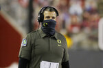 Oregon coach Mario Cristobal walks along the sideline during the first half of the team's NCAA college football game against Washington State in Pullman, Wash., Saturday, Nov. 14, 2020. (AP Photo/Young Kwak)