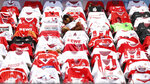 Shirts of the fans hang over the seats prior to the German Bundesliga soccer match between 1. FC Cologne and FSV Mainz 05 in Cologne, Germany, Sunday, May 17, 2020. The German Bundesliga becomes the world's first major soccer league to resume after a two-month suspension because of the coronavirus pandemic. (AP Photo/Lars Baron, Pool)