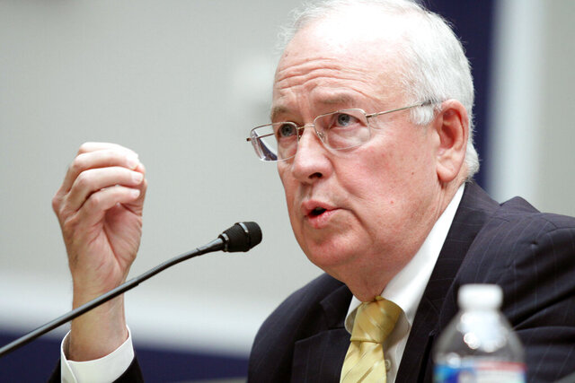 FILE - In this May 8, 2014, file photo, then Baylor University President Ken Starr testifies at the House Committee on Education and Workforce on college athletes forming unions. in Washington. President Donald Trump's legal team will include former Harvard University law professor Alan Dershowitz and Ken Starr, the former independent counsel who led the Whitewater investigation into President Bill Clinton, according to a person familiar with the matter. The team will also include Pam Bondi, the former Florida attorney general. (AP Photo/Lauren Victoria Burke, File)