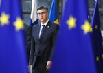 Croatian Prime Minister Andrej Plenkovic arrives for an EU summit in Brussels, Friday, March 22, 2019. European Union leaders gathered again Friday after deciding that the political crisis in Britain over Brexit poses too great a threat and that action is needed to protect the smooth running of the world's biggest trading bloc. (AP Photo/Frank Augstein)
