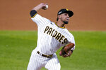 San Diego Padres pitcher Luis Patino delivers to the Los Angeles Dodgers during the third inning in Game 3 of a baseball National League Division Series Thursday, Oct. 8, 2020, in Arlington, Texas. (AP Photo/Tony Gutierrez)