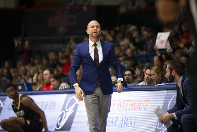 Winthrop head coach Pat Kelsey reacts to an official's call during the first half of an NCAA college basketball game against Saint Mary's, Monday, Nov. 11, 2019 in Moraga, Calif. (AP Photo/D. Ross Cameron)