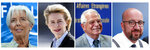 This combination photo made up of file photos of from left, Christine Lagarde, Ursula von der Leyen, Josep Borrell and Charles Michel. European Union leaders have broken a deadlock Tuesday July 2, 2019, and proposed their candidates for top posts in the bloc after three days of arduous negotiations. They have nominated German Defense Minister Ursula von der Leyen to become the new president of the bloc's powerful executive arm, the European Commission, taking over from Jean-Claude Juncker for the next five years. EU Council President Donald Tusk says that Belgian Prime Minister Charles Michel will take over from him in the fall. (AP Photo)