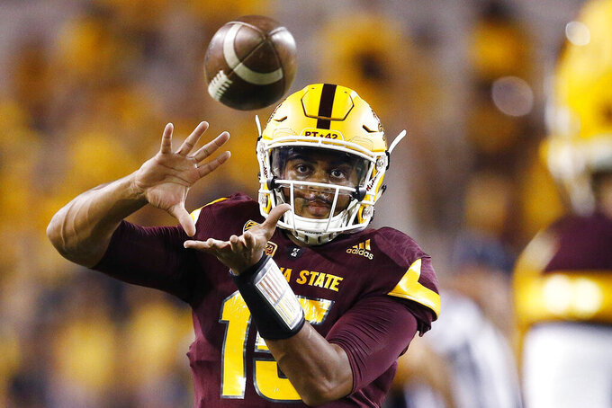 Arizona State quarterback Dillon Sterling-Cole warms up prior to an NCAA college football game against San Diego State Saturday, Sept. 9, 2017, in Tempe, Ariz. Arizona State hoping to build on solid first season under coach Herm Edwards. The Sun Devils have several key players back from a team that finished with a winning record and went to a bowl game. Finding a quarterback to replace Manny Wilkins will be a big key heading into Edwards' second season. (AP Photo/Ross D. Franklin)