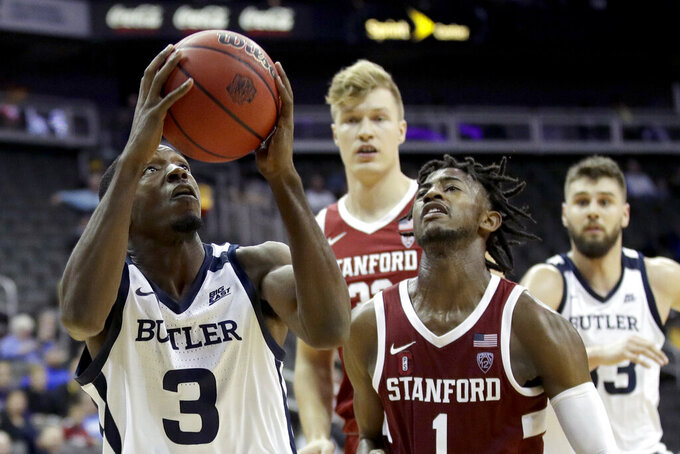 Butler guard Kamar Baldwin (3) puts up a shot during the second half of an NCAA college basketball game against Stanford, Tuesday, Nov. 26, 2019, in Kansas City, Mo. Butler won 68-67. (AP Photo/Charlie Riedel)