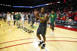 Baylor guard Devonte Bandoo walks off the court after the team's NCAA college basketball game against Iowa State, Wednesday, Jan. 29, 2020, in Ames, Iowa. Baylor won 67-63. (AP Photo/Charlie Neibergall)