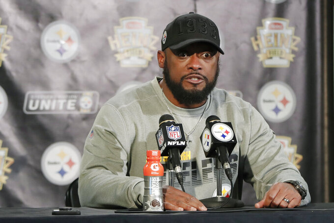 Pittsburgh Steelers head coach Mike Tomlin speaks to reporters during a news conference after an NFL football game against the Buffalo Bills, Sunday, Dec. 15, 2019, in Pittsburgh. (AP Photo/Keith Srakocic)