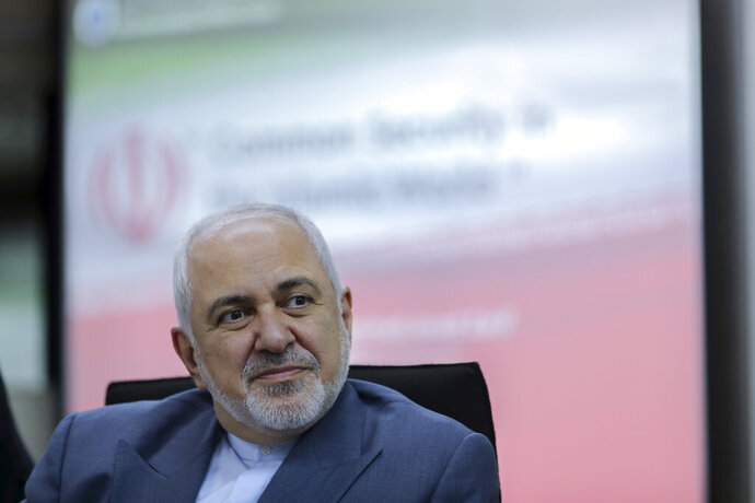 FILE - In this Aug. 29, 2019 file photo, Iranian Foreign Minister Mohammad Javad Zarif attends a forum titled