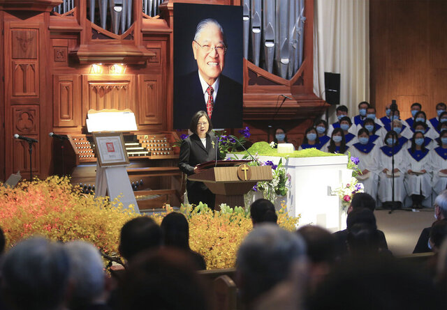 Taiwan President Tsai Ing-wen speaks during a memorial service for the late former Taiwanese President Lee Teng-hui in Taipei, Taiwan on Saturday, Sept. 19, 2020. Lee, remembered for leading the island's transition to democracy, died at age 97 in July, (Pool Photo via AP)