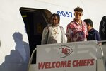Kansas City Chiefs' Patrick Mahomes arrives for the NFL Super Bowl 54 football game Sunday, Jan. 26, 2020, at the Miami International Airport in Miami. (AP Photo/David J. Phillip)