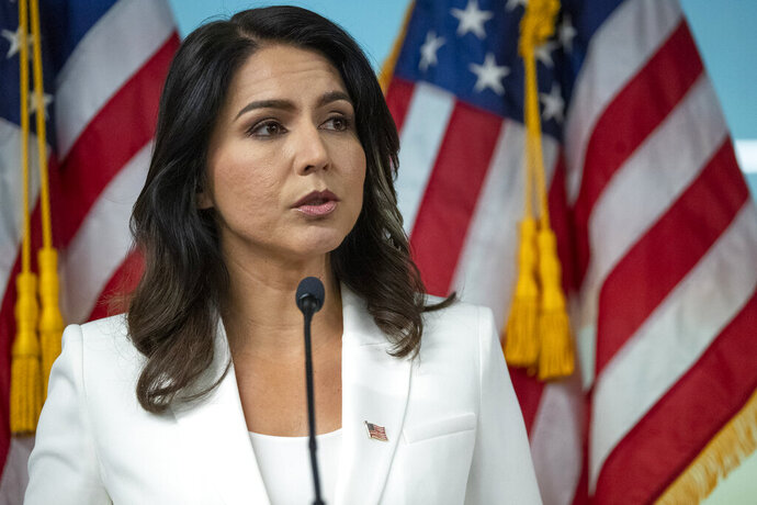FILE - In this Oct. 29, 2019, file photo, Democratic presidential candidate Rep. Tulsi Gabbard, D-Hawaii, speaks during a news conference in New York. Gabbard's fellow Democrats are nervous that she will mount a third-party bid for president. (AP Photo/Mary Altaffer, File)