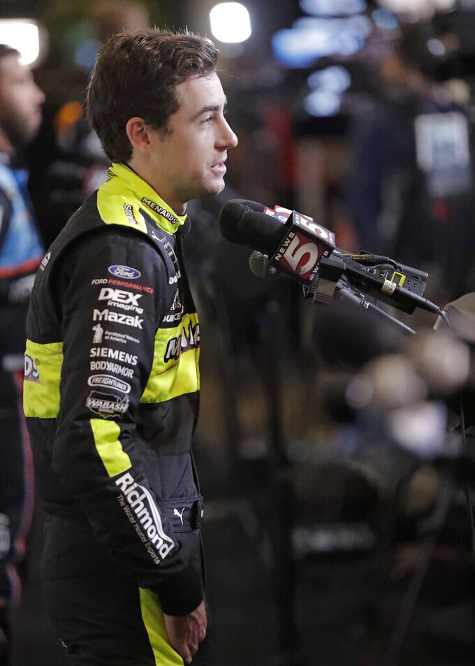 Ryan Blaney speaks to reporters during the NASCAR Daytona 500 auto racing media day at Daytona International Speedway, Wednesday, Feb. 13, 2019, in Daytona Beach, Fla. (AP Photo/John Raoux)