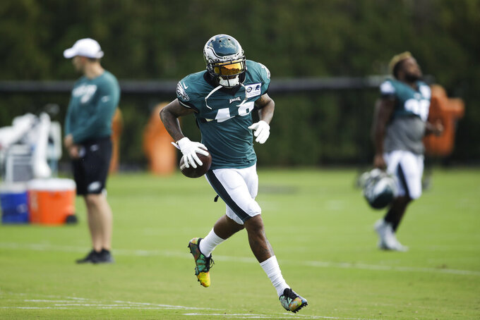 Philadelphia Eagles wide receiver DeSean Jackson runs with the ball at the NFL football team's practice facility in Philadelphia, Wednesday, Sept. 4, 2019. (AP Photo/Matt Rourke)