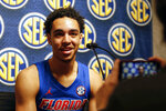 Florida's Andrew Nembhard speaks during the Southeastern Conference NCAA college basketball media day, Wednesday, Oct. 16, 2019, in Birmingham, Ala. (AP Photo/Butch Dill)