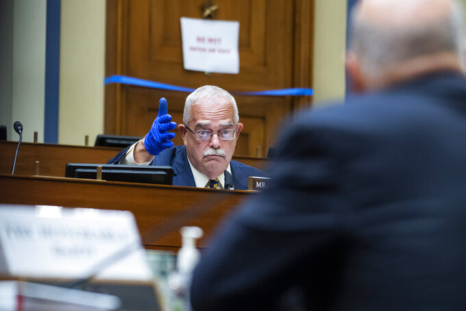 Rep. Gerry Connolly, D-Va., questions Postmaster General Louis DeJoy during a House Oversight and Reform Committee hearing on the Postal Service on Capitol Hill, Monday, Aug. 24, 2020, in Washington. (Tom Williams/Pool via AP)