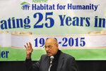 """FILE - In this April 23, 2015 file photo, Tony Campolo was the featured speaker at the Abilene Habitat for Humanity 25th Anniversary Luncheon Thursday, April 23, 2015, in Abilene, Texas. As the threat of impeachment looms, President Donald Trump is digging in and taking solace in the base that helped him get elected: conservative evangelical Christians who laud his commitment to enacting their agenda. Campolo has challenged religious conservatives close to Trump to seek repentance from him.  """"I would like religious leaders who surround the president to raise questions about his honesty,"""" Campolo, a professor emeritus at Pennsylvania's Eastern University, said in an interview. """"There are so many things he says that are blatantly untrue.""""  (Nellie Doneva/Abilene Reporter-News via AP, File)"""