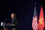 U.S. Vice President Kamala Harris holds a news conference before departing Vietnam for the United States following her first official visit to Asia, in Hanoi, Vietnam, Thursday, Aug. 26, 2021. (Evelyn Hockstein/Pool Photo via AP)