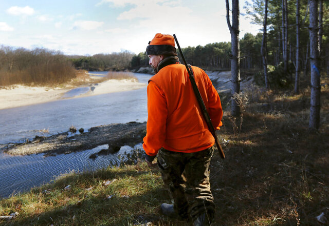 FILE - In this Nov. 19, 2016, file photo, Greg Boley takes in a view of the Eau Claire River before heading back out into the woods during the gun deer hunt season opener on public land in Fall Creek, Wis. Outdoor enthusiasts overwhelmingly rejected Wisconsin wildlife officials' proposals to dramatically reshape the state's gun deer hunting structure to bolster the waning sport, a survey released Wednesday, May 6, 2020 shows. (Marisa Wojcik/The Eau Claire Leader-Telegram via AP, File)