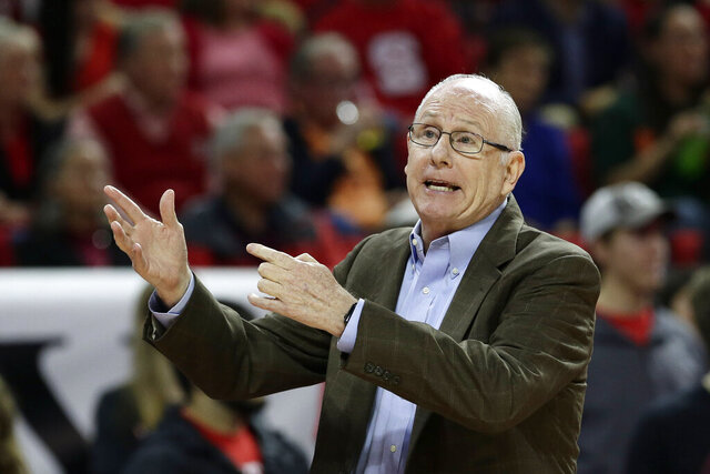 Miami head coach Jim Larranaga directs his players during the first half of an NCAA college basketball game against North Carolina State in Raleigh, N.C., Wednesday, Jan. 15, 2020. (AP Photo/Gerry Broome)