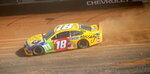 Kyle Busch drives along the dirt track during NASCAR Cup Series practice, Friday, March 26, 2021, at Bristol Motor Speedway in Bristol, Tenn. (David Crigger/Bristol Herald Courier via AP)
