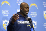 FILE - In this Dec. 15 2019, file photo, Los Angeles Chargers head coach Anthony Lynn speaks after an NFL football game against the Minnesota Vikings, in Carson, Calif. The NFL and the Black College Football Hall of Fame will hold a virtual version of their quarterback coaching summit, a third-year project aimed at improving the league's diversity. Chargers coach Anthony Lynn is among the pro and college coaches planning to participate in the June 22-23 event. (AP Photo/Kelvin Kuo, File)