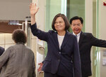 FILE - In this Thursday, July 11, 2019, file photo released by the Taiwan Presidential Office, Taiwanese President Tsai Ing-wen waves as she leaves for the Caribbean from Taoyuan International Airport in Taoyuan, Taiwan. China said Friday, July 12, 2019 that the U.S. should not allow an ongoing visit by Tsai to New York and cease all official exchanges with the self-governing island. (Taiwan Presidential Office via AP, File)