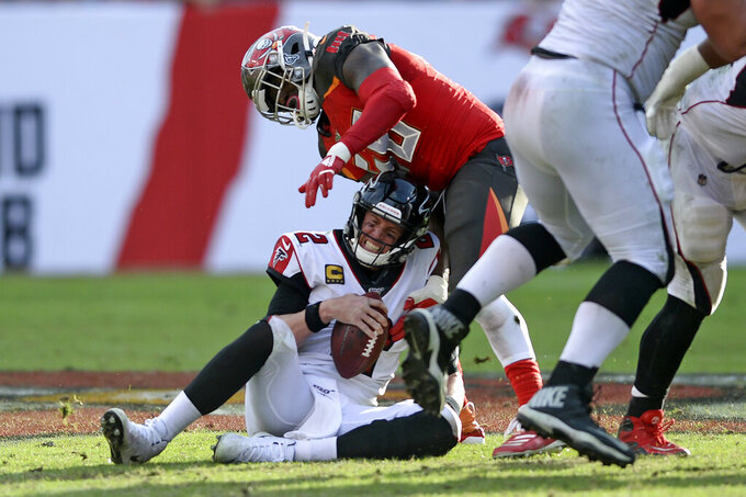 Tampa Bay Buccaneers linebacker Shaquil Barrett (58) sacks Atlanta Falcons quarterback Matt Ryan (2) during the second half of an NFL football game Sunday, Dec. 29, 2019, in Tampa, Fla. (AP Photo/Jason Behnken)