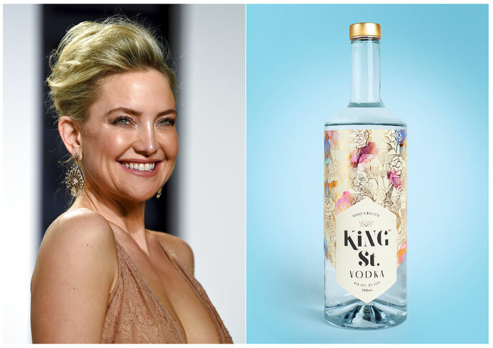 This combination photo shows actress Kate Hudson at the Vanity Fair Oscar Party in Beverly Hills, Calif. on Feb. 27, 2017, left, and a bottle of her gluten-free, non-GMO King St. Vodka. Celebrities are deep into the liquor and wine business with their own brands that are particularly gifty for drink-loving fans. (AP Photo, left, and King St. Vodka via AP)