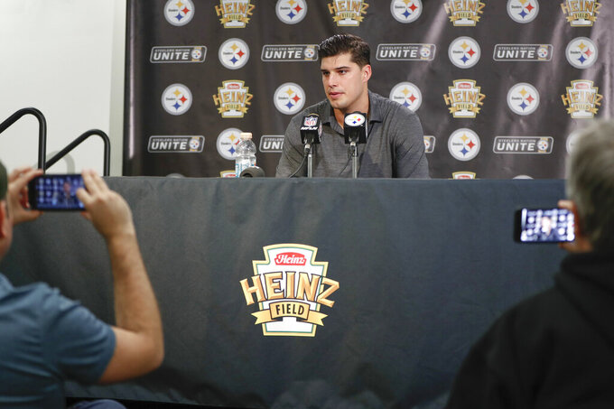 Pittsburgh Steelers quarterback Mason Rudolph speaks during a news conference after the team's NFL football game against the Los Angeles Rams, Sunday, Nov. 10, 2019, in Pittsburgh. The Steelers won 17-12. (AP Photo/Keith Srakocic)