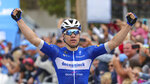 Fabio Jakobsen celebrates his win in Stage 4 of the Tour of California cycling race in Morro Bay, Calif., Wednesday, May 15, 2019. (David Middlecamp/The Tribune (of San Luis Obispo) via AP)