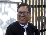 Khin Maung Zaw, a lawyer of two Reuters journalists, Wa Lone and Kyaw Soe Oo, speaks to journalists as he leaves the Supreme Court after submitting appeal documents of the two journalists in Naypyitaw, Myanmar, Friday, Feb. 1, 2019. Lawyers for the two journalists sentenced to seven years in jail on charges of breaking the Official Secrets Act filed an appeal to the country's supreme court, after a high court judge rejected their appeal in January. (AP Photo/Aung Shine Oo)