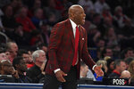 St. John's head coach Mike Anderson reacts during the first half of an NCAA college basketball game against Seton Hall in New York, Saturday, Jan. 18, 2020. (AP Photo/Sarah Stier)