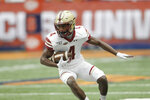 Boston College's Zay Flowers runs with the ball during the first quarter of an NCAA college football game against Syracuse in Syracuse, N.Y., Saturday, Nov. 2, 2019. (AP Photo/Nick Lisi)
