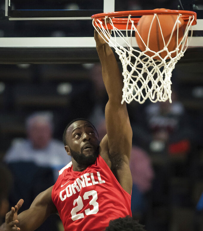 Cornell guard Joel Davis dunks against Wake Forest during the first half of an NCAA college basketball game Wednesday, Jan. 2, 2019, in Winston-Salem, N.C. (Allison Lee Isley/The Winston-Salem Journal via AP)